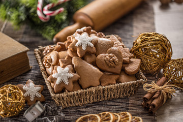 Gingerbread christmas cookies on kitchen table - Close-up