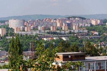 Zlin skyline with segment of southern slopes prefab housing estate, Moravia, Czech Republic, sunny summer day