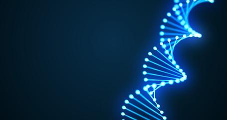 DNA helix spiral 3D loop, gene molecule or chromosome cell of blue light on black background. DNA molecule spiral, genome cell for molecular science and human genetic medicine technology