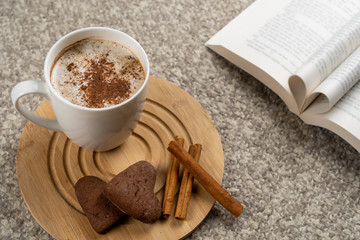 Cup of hot chocolate on a cozy blanket next to a book. Love for reading and enjoying a warm drink indoors on a cold winter day concept.