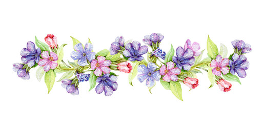 Lungwort herb with flowers watercolor border illustration. Medical wild plant with violet flowers on the stem hand drawn decore image. Blooming lungwort herb isolated on white background.