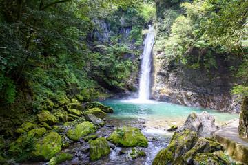 写真素材:土々呂の滝、徳島県、滝、滝つぼ、秘境、風景