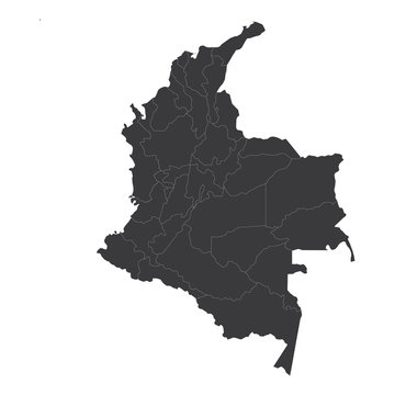 Map of Colombia, Colombia - map, High detailed - black map of Colombia on white background. Vector illustration eps 10.