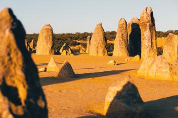 The Pinnacle Desert at sunset, limestone formations at Nambung National Park, Cervantes, Western Australia