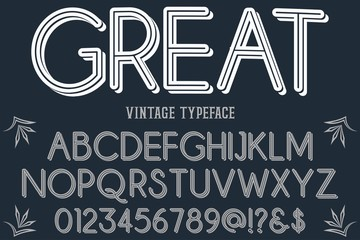 Classic Lettering font  Designs. Typography fonts old uppercase and lowercase. vector illustration named great