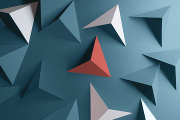 Composition with triangular shapes, blue background