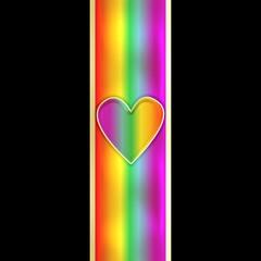 rainbow heart on abstract background seamless pattern