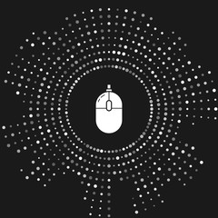 White Computer mouse icon isolated on grey background. Optical with wheel symbol. Abstract circle random dots. Vector Illustration