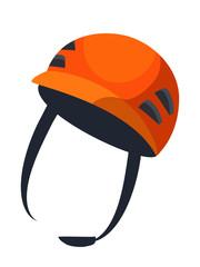 Orange helmet flat vector illustration