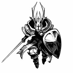 A knight in plate armor, horned helmet, shield and sword runs to attack. 2D illustration