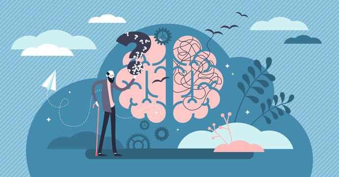Dementia health disorder flat tiny person concept vector illustration