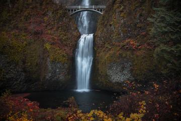 Printed roller blinds Gray traffic Crisp and colorful November autumn mornings at Multnomah Falls, Columbia River Gorge, Oregon