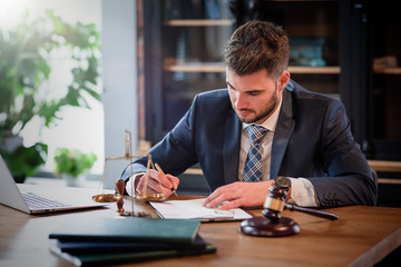 Fototapeta Lawyer or attorney working in the office obraz