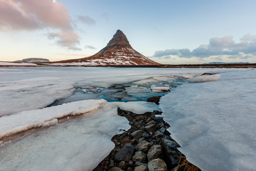 Famous mountain with waterfalls in Iceland, aurora borealis, night, kirkjufell, winter in Iceland, ice and snow, reflections, yellow grass, nature, icelandic famous landscape