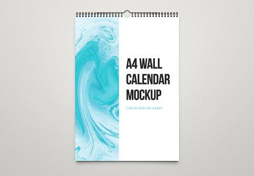 A4 Wall Calendar Mockup