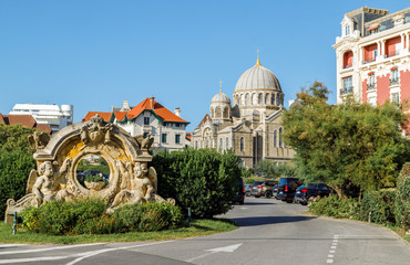 Empty road leading to the Russian orthodox church (built in 1892)  in Biarritz, France.