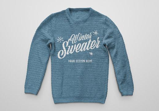 Knitted Wool Winter Sweater Mockup