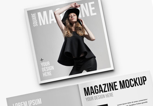 Open and Closed Square Magazine Mockup