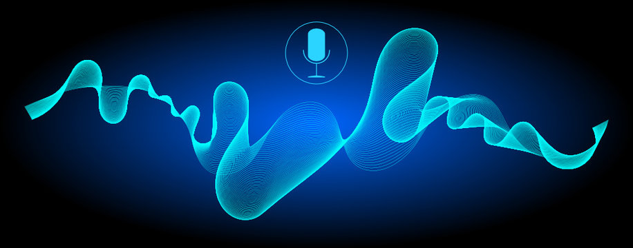 Voice Recognition with a microphone and soundwaves - illustration