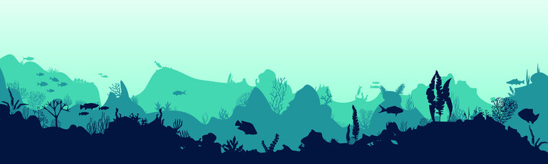 Sea scene with the underwater world. Coral reefs. Tropical sea with water mimicry and its inhabitants. Silhouette of fish and algae. Vector. Wall mural