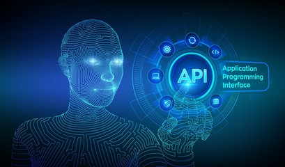 API. Application Programming Interface, software development tool, information technology and business concept on virtual screen. Wireframed cyborg hand touching digital interface. AI. Vector.