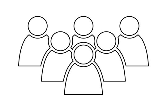 6 people icon. Group of persons. Simplified human pictogram. Modern simple flat vector icon