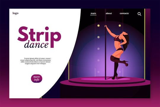 Strip dance landing page vector template
