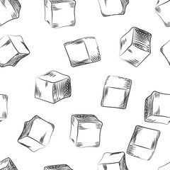 Sugar cube seamless pattern. Hand drawn ice cube wallpaper.
