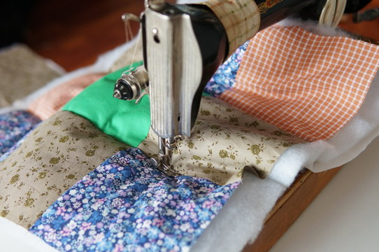 Patchwork quilt process at home
