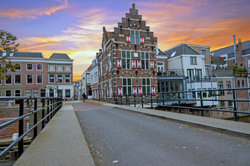 City scenic from the medieval town Gorinchem in the Netherlands at sunset