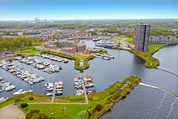 Aerial from the city and harbour in Almere in the Netherlands