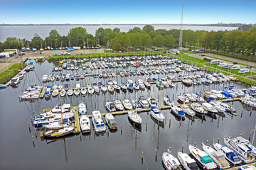 Aerial from the harbor from Almere in the Netherlands