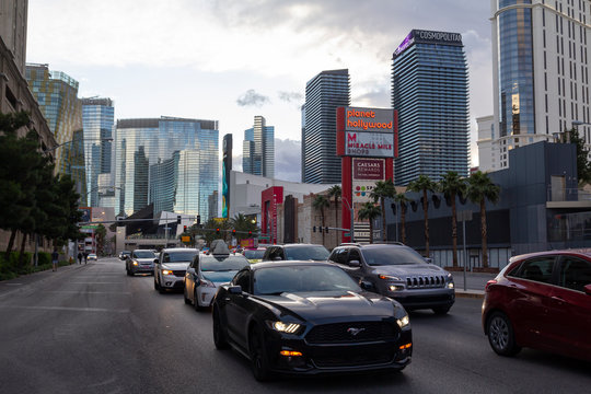 Las Vegas, Nevada, United States: May 20, 2019: Las Vegas Strip, casino and hotels city view with modern architecture and luxury stores