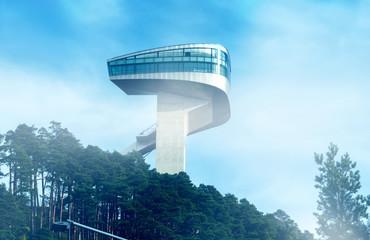 Innsbruck, Austria, 11/10/2019: The Tower of the Bergisel Ski Jump in Innsbruck