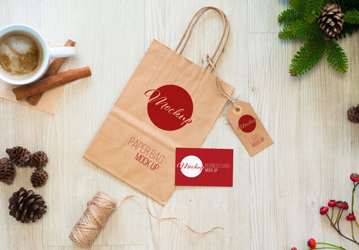 Paper Bag, Label, and Business Card Mockup with Christmas Decorations