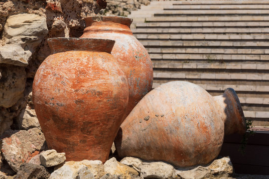 Ancient amphora in old town of Nesebar, Bulgaria. Ancient pottery pots