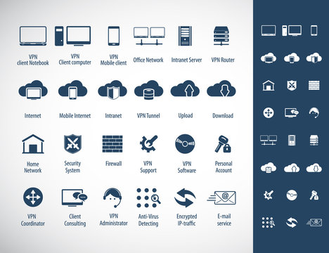 Virtual Private Network vector icons set. 24 VPN editable vector icons for video, mobile apps, Web sites and print projects