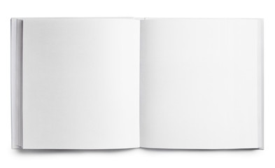Open square book with blank pages, isolated on white background