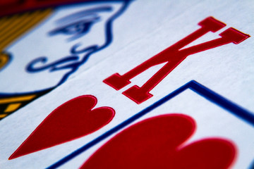 Macro shot playing cards, king of hearts close-up picture