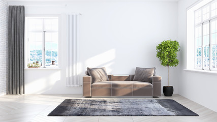 Living room interior in scandinavian style . 3D rendering Wall mural