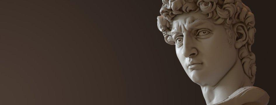 David sculpture by Michelangelo. Close up with dark background. (right version)