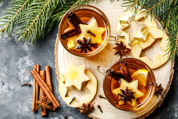 Hot drink for New Year, Christmas or autumn holidays. Mulled cider or spiced tea or mulled white wine with lemon, apples, cinnamon, anise, cloves.