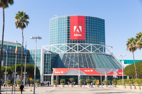 November 4, 2019: Los Angeles, California, USA: General view of Adobe logo on sign at Los Angeles Convention Center during Adobe MAX on November 4, 2019