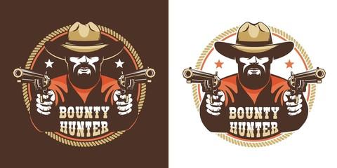 Bearded cowboy with guns - vintage wild west emblem. Western bandit retro logo. Vector illustration.