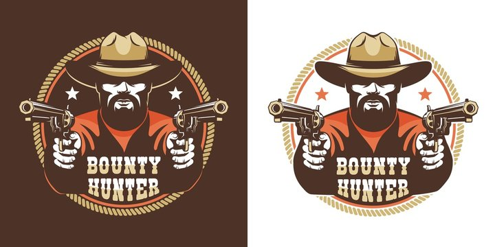 Bearded cowboy with guns - vintage wild west emblem. Western bandit retro logo. Vector illustration.