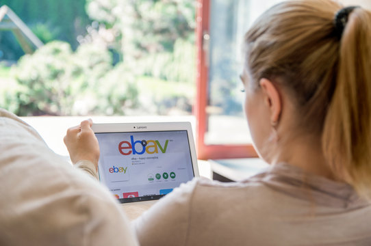 WROCLAW, POLAND- APRIL 10th, 2017:  Woman is installing ebay application on Lenovo tablet. eBay is a multinational e-commerce corporation, facilitating online C2C and B2B sales.