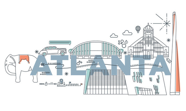 Typography word Atlanta branding technology concept. Collection of flat vector web icons. American culture travel set, architectures, specialties detailed silhouette. Doodle famous landmarks.