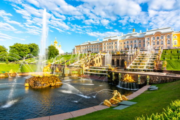 St. Petersburg, Russia - June 2019: Grand Cascade of Peterhof Palace and Samson fountain