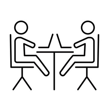 Coworking space linear icon. Meeting room. Establishing community. Freelance professionals. Businessmen. Thin line illustration. Contour symbol. Vector isolated outline drawing. Editable stroke