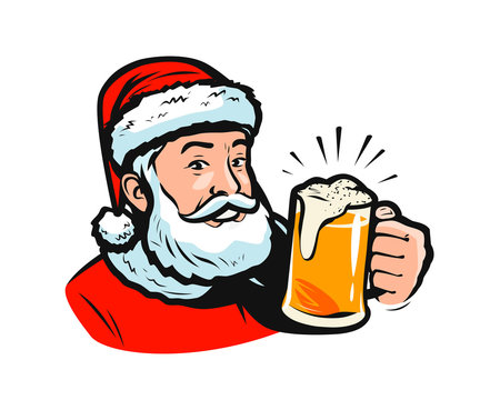 Santa claus with a beer. Christmas vector illustration